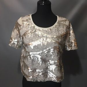 GLAM and GLITZY Sequined Top Size Large by San Joy
